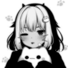 Emo Anime Girl, Dark Anime Girl, Anime Cat, Kawaii Anime Girl, Otaku Anime, Cute Anime Profile Pictures, Cute Anime Pics, Cute Anime Couples, Anime Monochrome