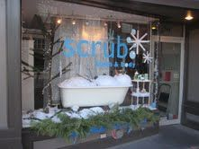 """Scrub, winner of """"Most Whimsical"""" prize in Salem MA 2012 Winter Holiday Window Contest."""