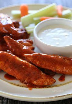 Skinny Buffalo Chicken Strips | Skinnytaste  yummy! 8/10 stars! definitely satisfied my craving for wings
