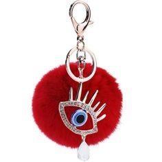 Evil Eye Fluffy Pom Pom Fur Key Chain