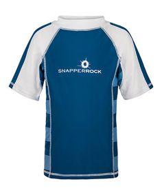 13052ed9 Snapper Rock Denim Blue & White Color Block Rashguard - Toddler & Boys