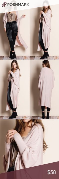 """Cocoon Dolman Sleeve Maxi Cardigan Duster Dolman sleeve cocoon maxi cardigan duster. This is an ACTUAL PIC of the item - all photography done personally by me. Model is 5'9"""" 32-24-36 32A wearing the size small. NO TRADES DO NOT BOTHER ASKING. Bare Anthology Sweaters Cardigans"""