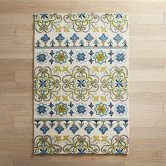 Blue & Green Tile 8x10 Rug