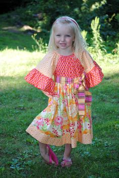 Girl's Peasant Dress, Children Clothing, Girl Dresses, Girl Clothing, Toddler, Child, Red, Pink, Size 2T 3T 4T 5 6 7 8
