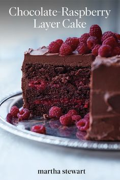Chocolate-Raspberry Cake---This beauty is baked with a splash of Chambord and layered with a sweet raspberry filling, both of which offer bright counterpoints to the thick layer of chocolate-cream cheese frosting and whole berries scattered on top. Chocolate Raspberry Cake, Vegan Chocolate, Chocolate Desserts, Cake Chocolate, Unsweetened Chocolate, Decadent Chocolate, Raspberry Desserts, Chocolate Cherry, Homemade Chocolate