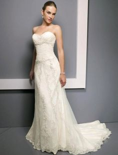 (FITS002092)A-line Strapless Embroidery Sleeveless Chapel Train Lace Wedding Dress for Brides