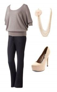 Grey sweater, dark pants, pumps, and pearls - fall work perfect!