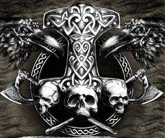 - Tattoo Trends – Badass Mjolnir unique Tattoo Trends – Badass Mjolnir This image has get 17 rep - Simbols Tattoo, Norse Tattoo, Celtic Tattoos, Body Art Tattoos, Hand Tattoos, Sleeve Tattoos, Viking Art, Viking Symbols, Thor Hammer Tattoo
