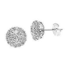 ZirconZ-Pave Signty CZ Sterling Silver Martini Stud Under Ear Lobe Claw Earrings
