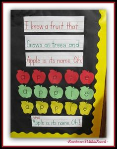RainbowsWithinReach: Apple Theme for Back to School: Piggyback Song, Ma. Preschool Apple Theme, Apple Activities, Preschool Songs, Fall Preschool, Kindergarten Science, Autumn Activities, Preschool Apples, Kindergarten Apples, Preschool Ideas