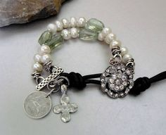 Natural Green Quartz Gemstone Bracelet with White by pmdesigns09, $104.00