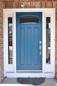 40 Ideas Red Front Door Porch Shutters For 2019 Front Door Paint Colors, Exterior Paint Colors For House, Painted Front Doors, Paint Colors For Home, Paint Colours, Blue Front Doors, Blue Doors, Front Door Porch, Glass Front Door