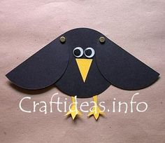 """Raven Craft - Great Preschool Craft for Elijah and the Raven Would be awesome to let the children do along with the scarecrow and """"God's love is something to crow about"""" bulletin board!"""