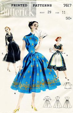 1950s Dress Pattern Butterick 7617