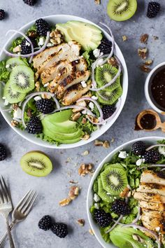 Blackberry Kiwi Balsamic Chicken Salad