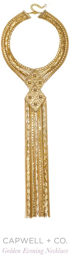 The Capwell + Co. Golden Evening Necklace is inspired by the 1970's and drawing on our archives for timeless shapes, this golden fringe necklace makes a glamorous statement. See more fringe and 1970's inspired jewelry at Capwell.co.
