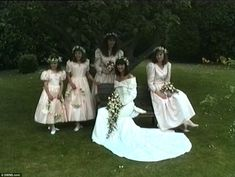 The girls pose for pictures with the blushing bride. Sadly the marriage came to an end jus...