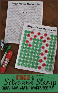 Help kids practice addition and subtractions in a fun, playful way this December with these super cute, free printable Solve & Stamp Christmas Math Worksheets. These Christmas worksheets are perfect for kindergarten, first grade, and 2nd grade students to work on math fluency while using a bingo dauber marker to solve math equations and reveal hidden picture of holiday items like candy canes, Christmas trees and more. Simply download pdf file with Christmas Math Sheets.