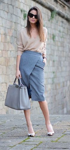 Office Style // Gorgeous workwear idea with wrap midi skirt.                                                                                                                                                     More