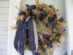 Primitive~Live~Laugh~Love~ Door~Wall Wreath~Mini Burlap Sunflowers~Stars~Bow #Handmade Door Wall, Live Laugh Love, Tree Toppers, Deco Mesh, Sunflowers, Primitive, Burlap, Bows, Wreaths