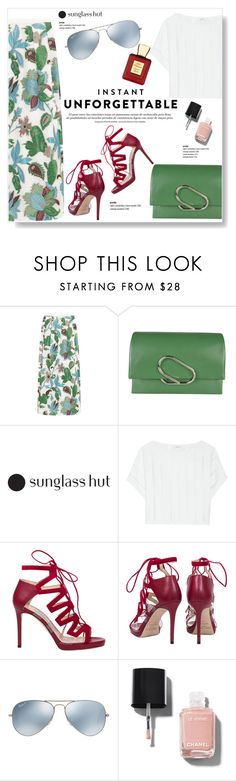 """""""Shades of You: Sunglass Hut Contest Entry"""" by viola279 ❤ liked on Polyvore featuring Tory Burch, 3.1 Phillip Lim, Milly, Jimmy Choo, Ray-Ban, Chanel and Bella Bellissima"""