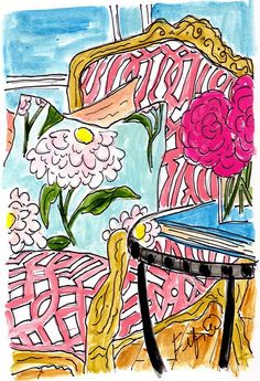 """Fifi Flowers Art Shop: """"Pink Fleurs on a Turquoise Book"""" by Fifi Flowers, via Etsy. [$15]"""