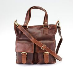 Brown Leather Pocket Purse Tote Handbag