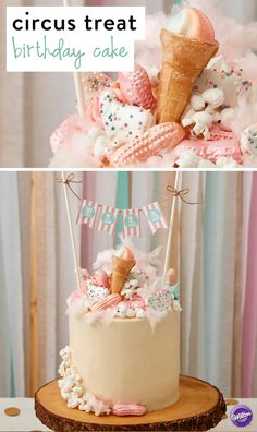 This Circus Treats Birthday Cake explodes with all the traditional favorites: popcorn, cotton candy, cookies and more! You can even personalize this cake with a cute printable banner.