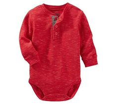 OshKosh B'Gosh Baby Boys' Long Sleeve Thermal Henley Bodysuit 6 Months