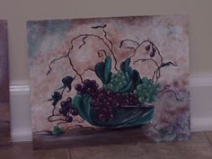 grapes in a basket, painting