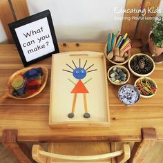 An invitation to play with loose parts and create different objects in the timber tray. Montessori Toddler, Montessori Activities, Kindergarten Activities, Classroom Activities, Learning Activities, Preschool Activities, Dinosaur Activities, Preschool Classroom, Play Based Learning