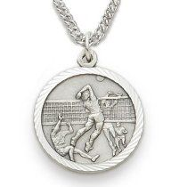 "Sterling Silver Boy's Volleyball Medal, St Christopher on back Sports Jewelry Boys Sports Patron Saint St Medal Catholic with St Christopher on Back w/Chain 20"" Length"