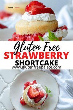 Gluten Free Strawberry Shortcake - #strawberryshortcakecheesecake - From scratch Gluten-Free Strawberry Shortcake using fresh whipped cream, juicy strawberries, and tender, homemade gluten-free shortcakes.... Easy Gluten Free Desserts, Gluten Free Cupcakes, Gluten Free Treats, Foods With Gluten, Gluten Free Cheesecake, Vegan Desserts, Gluten Free Shortcake Recipe, Shortcake Cupcake Recipe, Strawberry Dessert Recipes