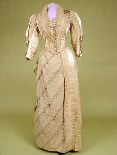 1886 Cream Silk and Lace Wedding Gown, MA.