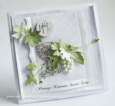 First Holy Communion, Flower Cards, Cute Cards, Hobbies And Crafts, Holi, Wedding Cards, Ornament, Card Making, Greeting Cards