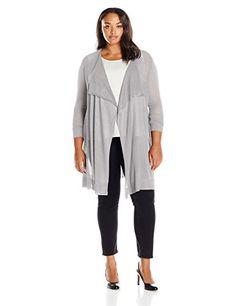 Melissa McCarthy Seven7 Women's Plus Size Flutter Front Flyaway Sweater