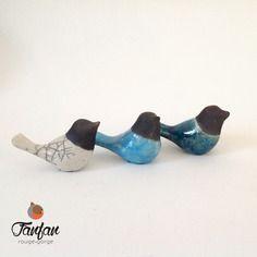 Lots de 3 oiseaux blanc, bleu, turquoise en céramique raku