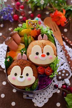 【キャラ弁】コロッケのチップ&デール弁当 | +5分で☆かわいいお弁当 Bento Box Lunch For Kids, Bento Kids, Cute Bento Boxes, Japanese Food Art, Kawaii Bento, Food Art For Kids, Boite A Lunch, Food Humor, Aesthetic Food