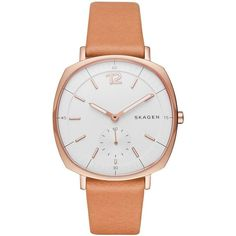 Skagen Denmark Rungsted Rose Goldtone Natural Leather Strap Watch,... ($175) ❤ liked on Polyvore featuring jewelry, watches, brown, stainless steel jewelry, stainless steel watches, brown jewelry, skagen watches and rose gold tone jewelry