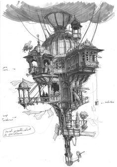 Fantasy Art Landscapes, Fantasy Drawings, Fantasy Landscape, Fantasy House, Fantasy World, Architecture Drawing Art, Parametric Architecture, Architecture Portfolio, House Architecture