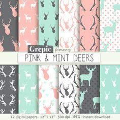 """Deer digital paper: """"PINK & MINT DEERS"""" with woodland deers patterns, antlers, forest, reindeer, holidays, christmas, pink mint deers antler #clipart #scrapbooking"""