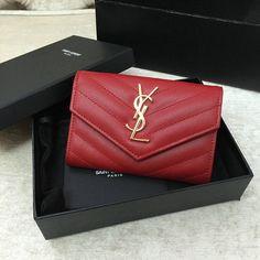 2016 S/S YSL Small Monogram Envelope Wallet in Red Grain De Poudre Textured Matelasse Leather