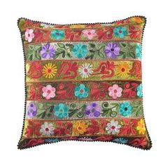 """Multicolor cotton velvet pillow with an embroidered floral stripe motif.     Product: PillowConstruction Material: Cotton velvetColor: MultiFeatures: Insert included Embroidered fabricWill enhance any décor  Dimensions: 16"""" x 16"""""""