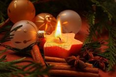 Christmas Candle and Candlelight with Ornaments