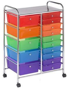 ECR4Kids 15 Drawer Mobile Organizer The small drawers could say mon-fri, copy, grade, file, and the big drawers could be different subjects and the materials needed for the week/day for that subject
