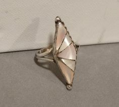 Vintage Native American Ring Sterling Silver White Pink Mother of Pearl Shell Navajo Indian Size 5 Old Dead Pawn Jewelry