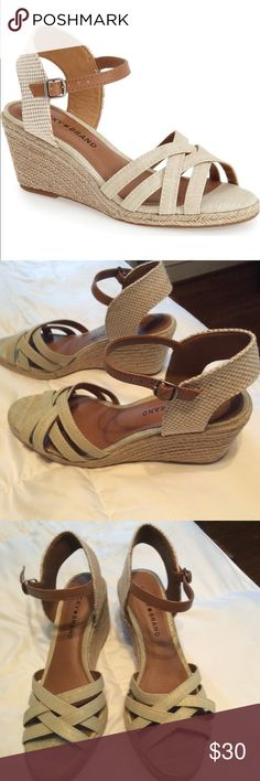 """Wedge sandals Luck Brand """"Kelley"""" wedge sandals in cream metallic linen. New with tags, Never worn. Lucky Brand Shoes Wedges"""