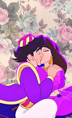 Aladdin and Jasmine on wallpaper
