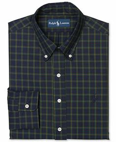 Polo Ralph Lauren Custom Fit Navy Plaid Dress Shirt - Dress Shirts - Men - Macy's