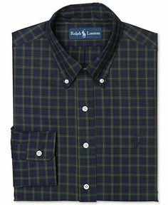 Polo Ralph Lauren Custom Fit Navy Plaid Dress Shirt - Dress Shirts - Men - Macy's